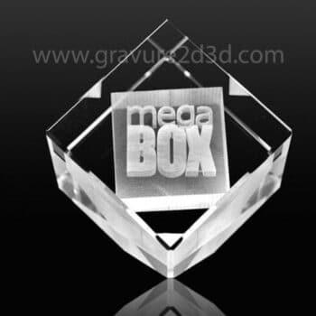 bloc en verre pan coupé gravé objets publicitaires