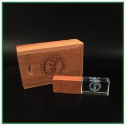 Clé USB personnalisée en verre et bois
