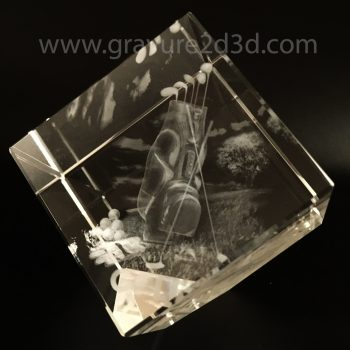 cube en verre pan coupé gravé