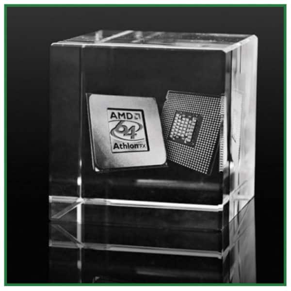 Cube de verre gravure laser 3d