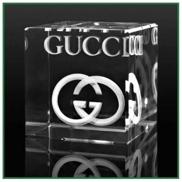 Bloc de verre cube avec gravure laser 3D