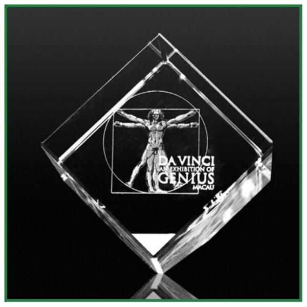 cube en verre personnalisé