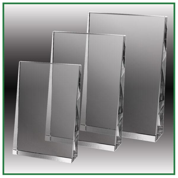 Trophée en verre rectangulaire biseauté