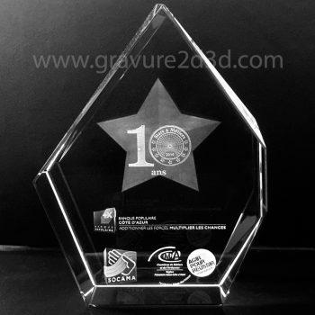 Trophée cristal personnalisé