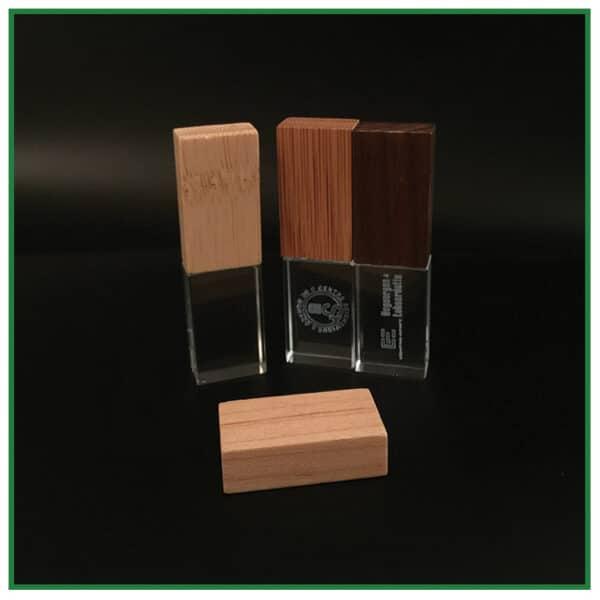 clés usb en verre et bois avec gravure laser
