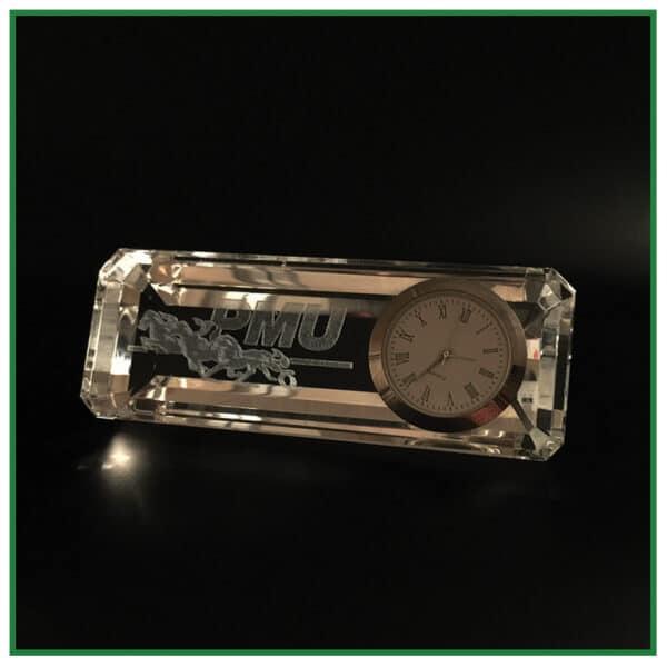 horloge de bureau personnalisée en verre