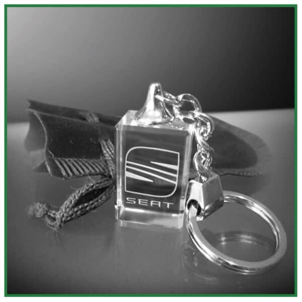 Porte clés en verre rectangulaire
