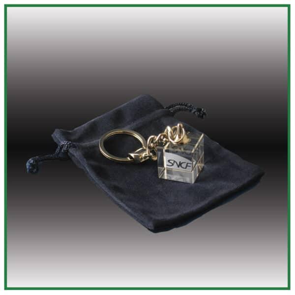 Porte-clés en verre avec gravure laser
