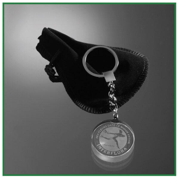 porte-clés rond en verre avec gravure laser
