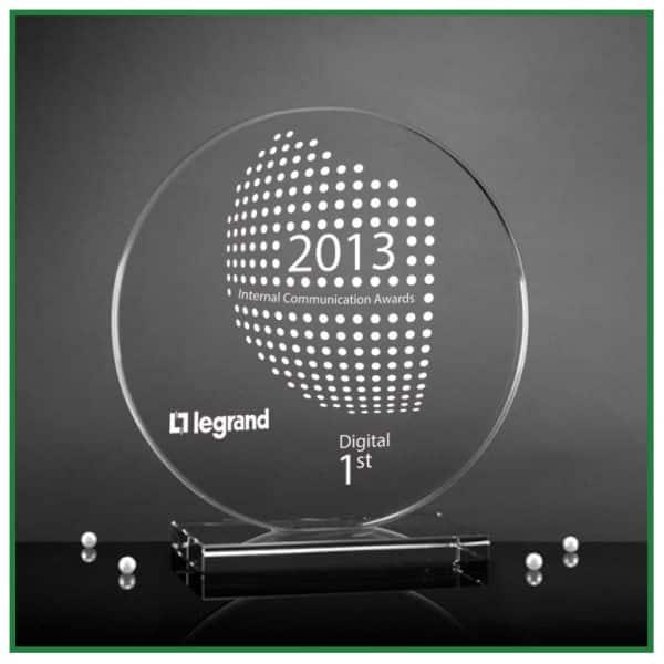 Gravure laser 2d trophée en verre