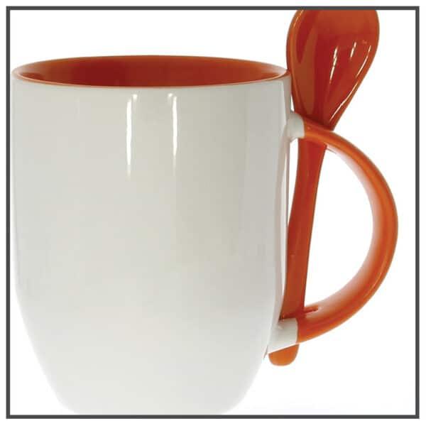mug publicitaire bicolor avec cuillere